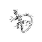 Sterling Silver Running Lizard Ring