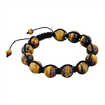12.5mm Tiger Eye Beads and Black String 12 Bead Shamballa Bracelet