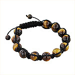 11mm Tiger Eye Beads and Black String 12 Bead Shamballa Bracelet
