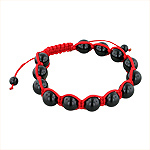 10mm Black Onyx Beads and Red String 13 Bead Shamballa Bracelet