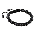 8mm Black Onyx Beads and Black String 13 Bead Shamballa Bracelet