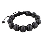 13mm Black Wood Beads and Black String 11 Bead Shamballa Bracelet