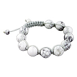 12mm White Turquiose Beads and Grey String 11 Bead Shamballa Bracelet