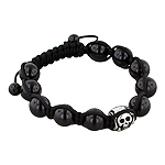 11mm Skull Bead and 10mm Black Onyx Beads 11 Bead Shamballa Bracelet with Black String