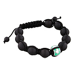 11.5mm Shamrock on Green Enamel Bead and 10mm Matte Black Onyx Beads 11 Bead Shamballa Bracelet with