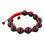 12.5mm Black Onyx Beads and Red String 11 Bead Shamballa Bracelet