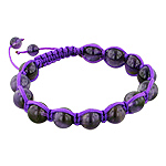 10mm Amethyst Beads and Purple String 13 Bead Shamballa Bracelet