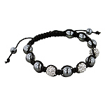 8mm Hematite and White Disco Ball Beads 11 Bead Shamballa Bracelet with Black String