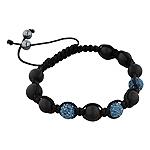 8mm Matte Black Onyx and Saphire Blue Disco Ball Beads 11 Bead Shamballa Bracelet with Black String