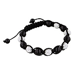 8mm Black Onyx and White Rhinestone Disco Ball Beads 13 Bead Shamballa Bracelet with Black String