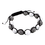 10mm White Turquoise and 11mm Black Rhinestone Disco Ball Beads 13 Bead Shamballa Bracelet with Blac