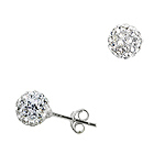 Sterling Silver and White Crystal Glass 7mm Round Disco Ball Stud Earrings