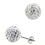 Sterling Silver and White Crystal Glass 10mm Round Disco Ball Stud Earrings