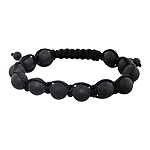 10mm Matte Black Onyx Beads and Black String 12 Bead Shamballa Bracelet