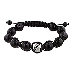 11mm Stainless Steel Hands Holding Flower Bead and 10mm Black Onyx Beads 11 Bead Shamballa Bracelet