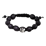 11mm Stainless Steel Hands Holding Flower Bead and 10mm Matte Black Onyx Beads 11 Bead Shamballa Bra