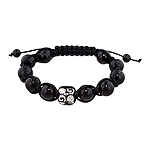 10mm Stainless Steel Curls and Crystal Eyes Bead and 10mm Black Onyx Beads 11 Bead Shamballa Bracele