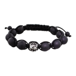 10mm Stainless Steel Flowers Bead and 10mm Matte Black Onyx Beads 11 Bead Shamballa Bracelet with Bl