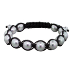 10mm Grey Mother of Pearl Beads and Black String 12 Bead Shamballa Bracelet