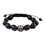 10mm Stainless Steel Flowers Bead and 10mm Black Onyx Beads 11 Bead Shamballa Bracelet with Black St