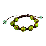 11.5mm Green-Brown Murano Glass Beads and Brown String 8 Bead Shamballa Bracelet