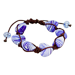 Heart Shaped Blue and White Murano Glass Beads and Brown String 7 Bead Shamballa Bracelet