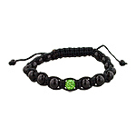 6mm Black Onyx and Green Rhinestone Disco Ball Beads on Black String 15 Bead Shamballa Bracelet