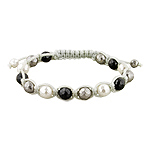 8mm Faceted Black, White, and Grey Mother of Pearl Beads on Grey String 14 Bead Shamballa Bracelet