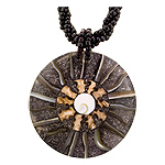 "Eye of Shiva Shell, Resin and Mother of Pearl Sun Rays Necklace on 18"" Black Rope Bead Cord"