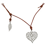 Sterling Silver and Brown Leather Filigree Leaf Necklace