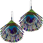 Sterling Silver, Peacock Feathers and Seed Beads Fan Dangle Earrings