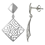 Sterling Silver Solid and Filigree Squares Stud Earrings