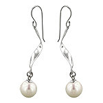 Sterling Silver and 10mm White Simulated Pearl Flat Wave Dangle Earrings