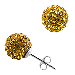 Sterling Silver and Golden Brown Crystal Glass 10mm Round Disco Ball Stud Earrings
