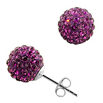 Sterling Silver and Dark Purple Crystal Glass 10mm Round Disco Ball Stud Earrings