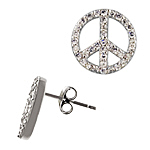 Sterling Silver and Pave Set Clear Cubic Zirconia Peace Sign Stud Earrings