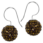 Sterling Silver and Brown Crystal Glass 12mm Round Disco Ball Dangle Earrings