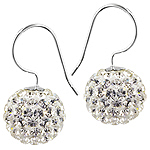 Sterling Silver and White Crystal Glass 12mm Round Disco Ball Dangle Earrings