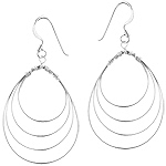 Sterling Silver Cascading Wire Ovals Dangle Earrings