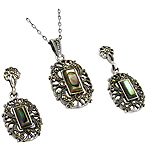 Sterling Silver and Marcasite Oval Filigree Pendant and Stud Earrings Set with Abalone Shell Inlays