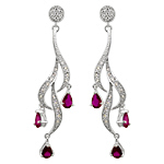 Sterling Silver and Pear Shaped Red Cubic Zirconia Cascading Curls Stud Earrings