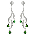 Sterling Silver and Pear Shaped Green Cubic Zirconia Cascading Curls Stud Earrings