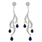 Sterling Silver and Pear Shaped Saphire Blue Cubic Zirconia Cascading Curls Stud Earrings