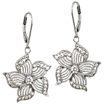 Sterling Silver and White Cubic Zirconia Filigree Flower DangleEarrings
