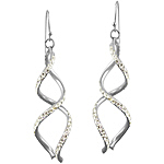 Sterling Silver and Pave Set White Crystal Glass Two Spirals Matte Finish Dangle Earrings