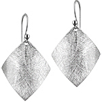 Sterling Silver Scratch Finish Arched Square Dangle Earrings