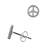 Sterling Silver 8mm Open Peace Sign Stud Earrings