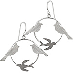 Sterling Silver Matte Finish Birds in Circle Round Dangle Earrings
