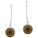 Sterling Silver and Brown Crystal Glass 14mm Disco Ball Dangle Earrings