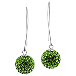 Sterling Silver and Lime Green Crystal Glass 14mm Disco Ball Dangle Earrings
